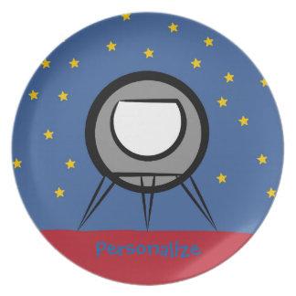 Cute Spaceship Dinner Plate