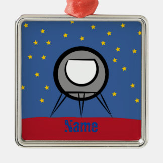 Cute Spaceship Metal Ornament