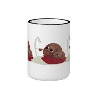 Cute Spaghetti Meeting Meatballs Ringer Mug