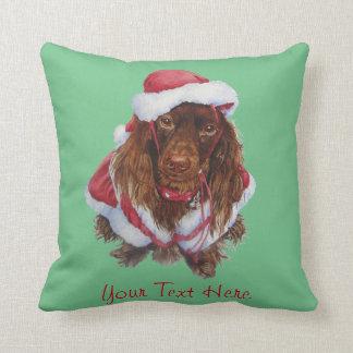 Cute spaniel dog realist art Christmas Pillow