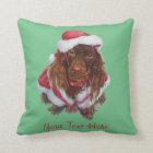 Cute spaniel dog realist art Christmas Throw Pillow
