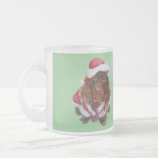 Cute spaniel puppy dog art christmas holiday mug