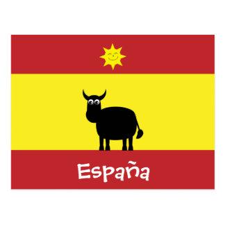 Cute Spanish Bull, Flag & Smiling Sun Postcard