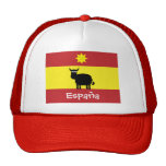 Cute Spanish Bull, Smiling Sun & Flag Trucker Hat