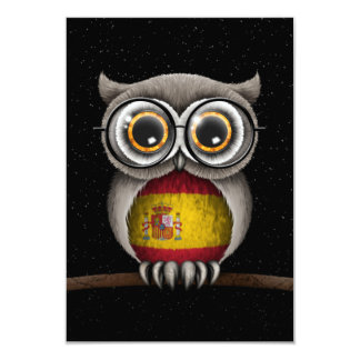Cute Spanish Flag Owl Wearing Glasses Personalized Invitation