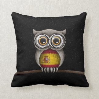 Cute Spanish Flag Owl Wearing Glasses Throw Pillow
