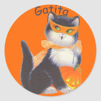 Cute Spanish Halloween Cat Round Stickers