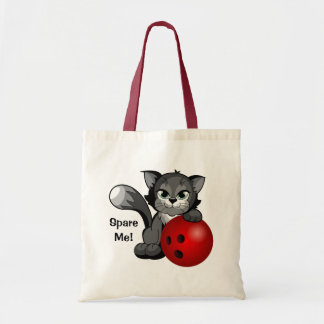 Cute Spare Me Bowling Kitty Cat Tote Bags
