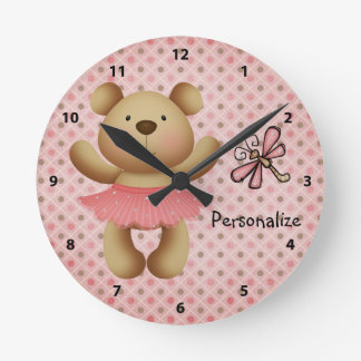 Cute Sparkle Ballerina Bear & Dragonfly Clock