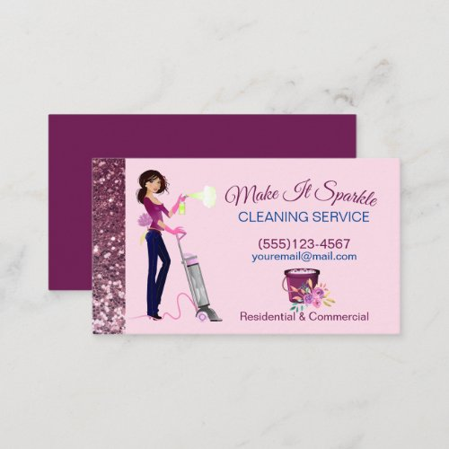 Cute Sparkle Cartoon Maid Cleaning Services  Busin Business Card