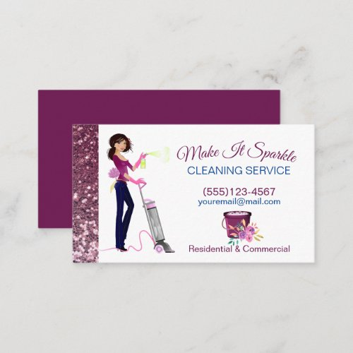 Cute Sparkle Cartoon Maid Cleaning Services  Business Card