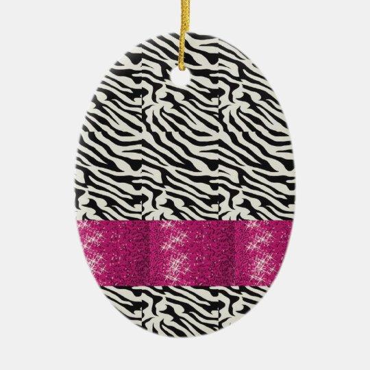 Cute SPARKLE Pink Zebra Striped Gifts Ceramic Ornament