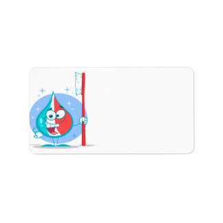 cute sparkle toothpaste character with toothbrush. custom address labels