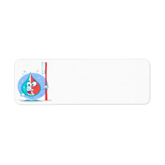 cute sparkle toothpaste character with toothbrush. return address labels