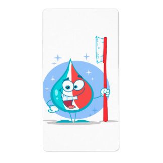 cute sparkle toothpaste character with toothbrush. custom shipping labels