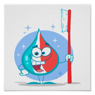 cute sparkle toothpaste character with toothbrush poster