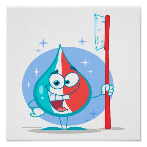cute sparkle toothpaste character with toothbrush. poster