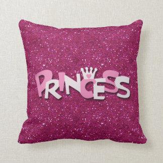 Cute Sparkly Hot Pink Princess Glitter Throw Pillow