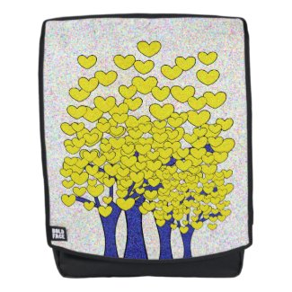 Sparkly Yellow Hearts Trees Print Backpack