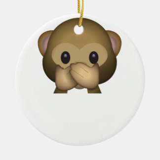 Cute Speak No Evil Monkey Emoji Ceramic Ornament