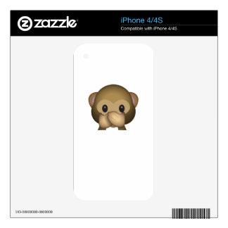 Cute Speak No Evil Monkey Emoji iPhone 4 Skins