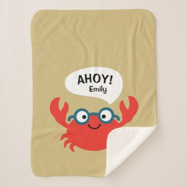 Cute Specky Crab Illustration Sherpa Blanket