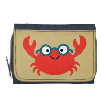 Cute Specky Crab Illustration Wallets