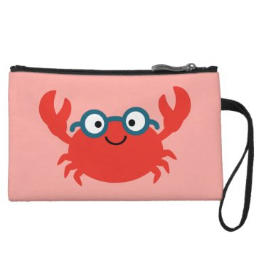 Cute Specky Crab Illustration Wristlet Wallet