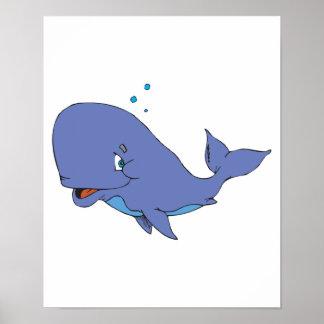 cute sperm whale poster