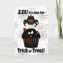 Cute Spider and Cupcake | Custom Halloween Card