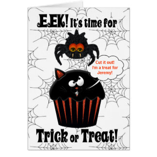Cute Spider and Cupcake | Custom Halloween Card