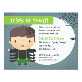 Cute Spider Boy Kids Halloween Party Invitations