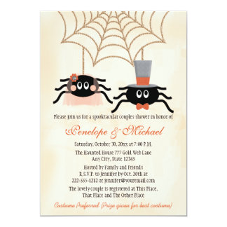 Cute Spider Halloween Couples Shower 5x7 Paper Invitation Card