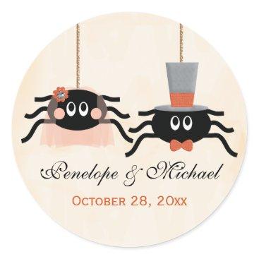 Halloween Themed Cute Spider Halloween Wedding Classic Round Sticker