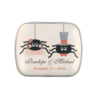 Cute Spider Halloween Wedding Favor Jelly Belly Candy Tin