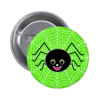 Cute Spider on Web Button