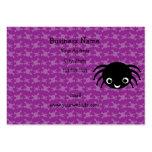 Cute spider purple skulls pattern business card template