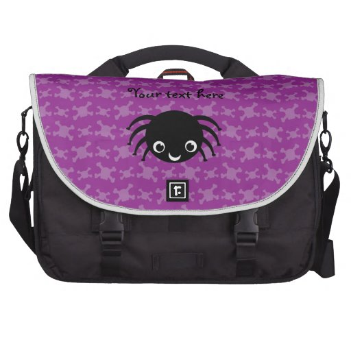 Cute spider purple skulls pattern laptop bag