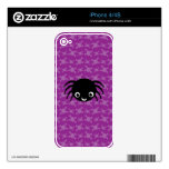 Cute spider purple skulls pattern decal for iPhone 4