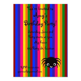 Cute spider rainbow stripes 6.5x8.75 paper invitation card