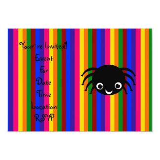 Cute spider rainbow stripes card