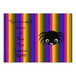 "Cute spider rainbow stripes 5"" x 7"" invitation card"