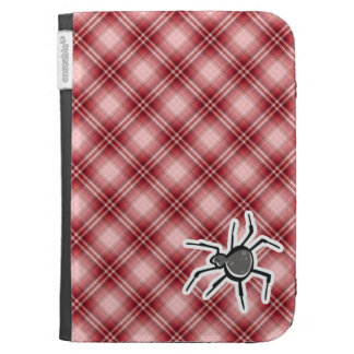 Cute Spider; Red Plaid Kindle Keyboard Case