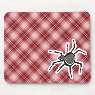 Cute Spider; Red Plaid Mouse Pad