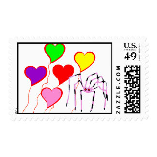 Cute Spider with Valentine Heart Balloons Postage Stamp