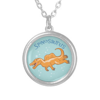 Cute Spinosaurus Silver Plated Necklace