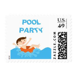 Cute splash boy's pool party birthday stamps