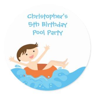 Cute splash boy's pool party birthday stickers sticker