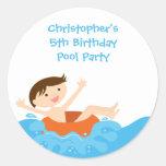Cute splash boy's pool party birthday stickers