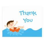 Cute splash boy's pool party thank you postcard